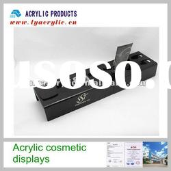 Practical black acrylic makeup display stand with holes