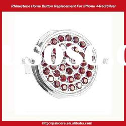 Rhinstone Home Button Replacement For iPhone 4-Colorized/Silver