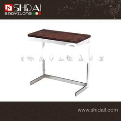 Simple style wood side table with stainless steel leg TA78