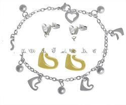 Stylish Heart Charm Bracelet and drop earring fashionable stainless steel women jewelry sets