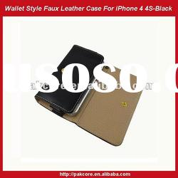 Wallet Style Faux Leather Case For iPhone 4 4S-Red