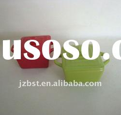 assorted color square ceramic casserole pot casserole with lid