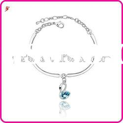 fashion silver alloy blue crystal swan bangles(B101040)