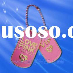 painted decorative fashion metal dog tag with chain