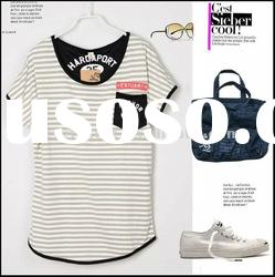 2012Summer new style 100%cotton short sleeve round neck lady classic nay style stripe t-shirt