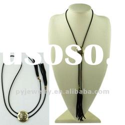 2012 Braided Rope Necklace, Small Circle Pendant Necklace