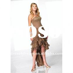 2012 front short long back dress with pleated and beadeded