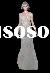 2012 new arrival elie saab style with full beautiful flowers chiffon evening dress