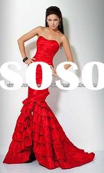 2012 red strapless ruched mermaid ruffled custom-made prom dresses CWFae3927