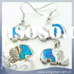 925 sterling silver opal jewelry SET fire opal elephant pendant