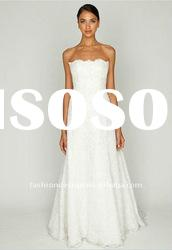 AH450 Newest 2012 strapless beaded lace satin with trail floor-length wedding dress