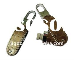 Compact swivel usb drives with leather material
