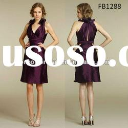 FB1288 Knee Length Taffeta Halter Purple Bridesmaids Dresses