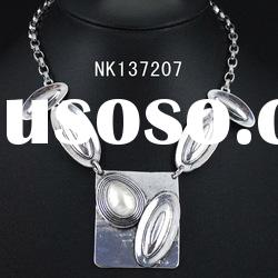 Fashion silver plating alloy resin stone wholesale necklace