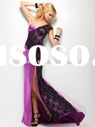 Hot sale one shoulder black lace and satin prom dress