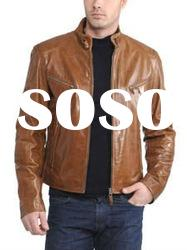 Men's leather jacket with clamping collar