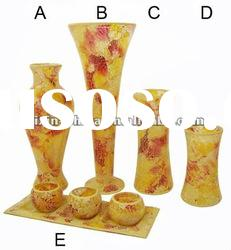 Mosaic Glass Flower Vase Set For Home Decoration