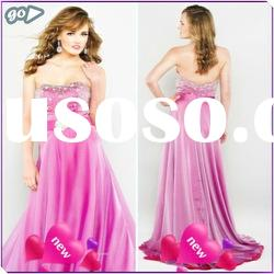 New Cheap 2011 Fashion Beautiful Strapless Sheath Beaded Ruffle Satin Decently Prom Dresses