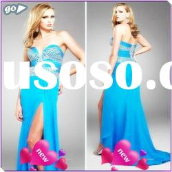 New Fashion 2011 Fashion Beautiful Sweetheart Sheath Appliqued Ruffle Chiffon Decently Prom Dresses