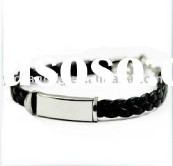 Obsessed Wrist Band Stainless steel bangle bracelet with rubber accent Product is in stock