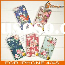 PY-New Arrival Peony Patterned Hard Plastic Back Case Cover For iPhone 4 4S LF-0482