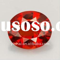 Red Garnet oval shape lab-created cubic zirconia gemstones,CZ beads, Cubics, precious stones