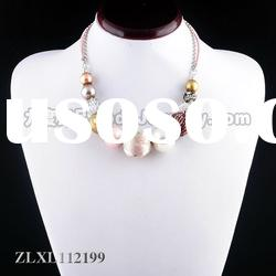 The latest fashion costume pink pearl handmade women necklace