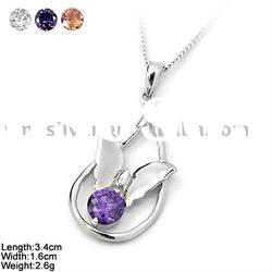 [DZ-971] 925 Silver Pendant with CZ Stones & Butterfly