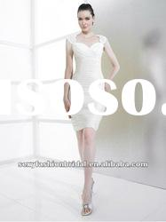 cap sleeves lace bodice fitting bodice mini skirt wedding dresses tight