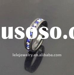 fashion black edge stainless steel rings jewellery with crystal