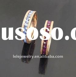 fashion pink edge stainless steel rings jewellery with crystal