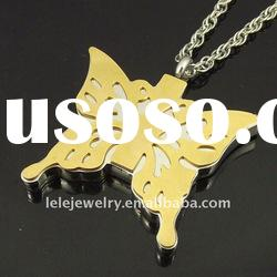 fashion stainless steel gold butterfly pendant popular with boys and girls
