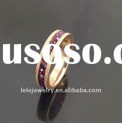 fashion stainless steel rings jewellery with purple crystal