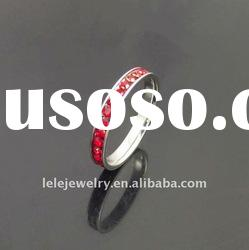 fashion stainless steel rings jewellery with red crystal