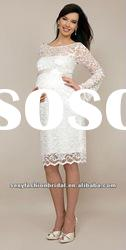 jewel neck lace throughout skirt long sleeves knee length Pregnant wedding dresses long sleeves