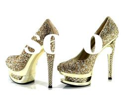 luxury gold double platform wedding heels