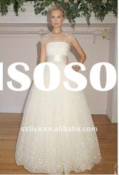new arrival lace and organza cap sleeve wedding dress