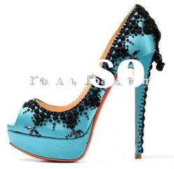 newest blue platform peep toe shoes high heel with embroidery