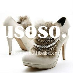 rabbit fur peral chain high heels evening shoes for ladies