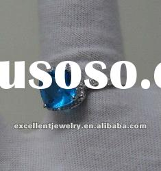 sterling silver new fashion ring with blue zircon stone