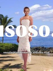 strapless lace skirt front short beach lace wedding dresses