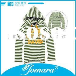 100% cotton long sleeve hood t shirts for children