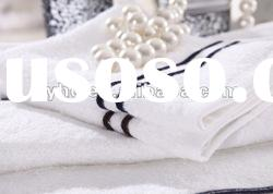 100% cotton terry hotel bath towel set with strip