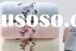 100% solid cotton bath towel with embroiderey border