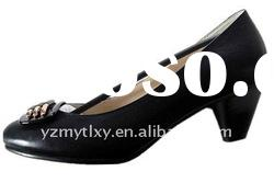 2012 lady spring newest design genuine leather half heel shoes