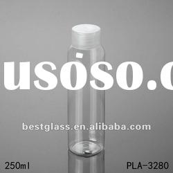 250ml PET bottle, plastic bottles with a clear pet screw cap, can printing, painted and OEM