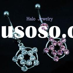 316L surgical steel rhinestone belly ring
