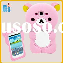 3D Pink relax Bear Silicon Back Cover Case for Samsung Galaxy SIII i9300