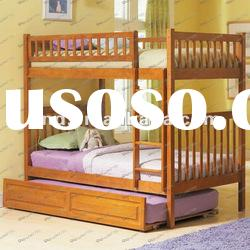 Attractive pine wooden bunk beds with a trundle bed