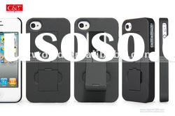 Black Luxury Matte Hard Rubber Case Cover With Stand Holder for Apple iPhone 4S